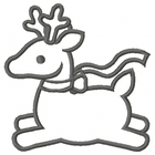 Too Cute Reindeer Large - Outline