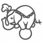 Too Cute Circus Elephant - Outline