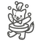 Too Cute Circus Cat - Outline